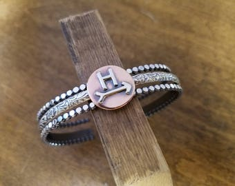 Order by Dec 1 for Christmas!  Custom Cattle Brand Bracelets--Set of 3--Sterling Silver and Copper--Handcrafted