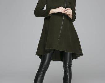 army green jacket, wool coat, hooded jacket, winter coat, warm coat, asymmetrical coat, Womens coats, Custom made coat (1360)