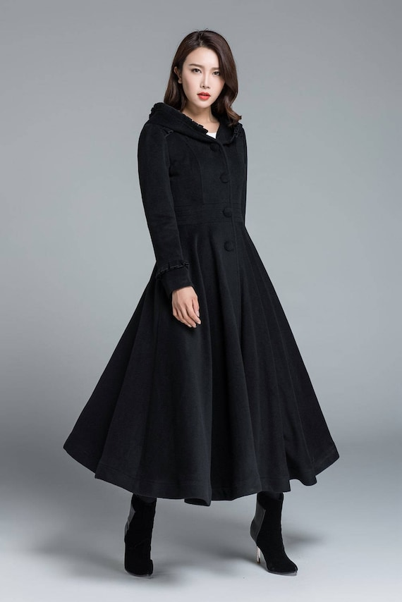 black coat wool coat long trench coat swing coat plus size