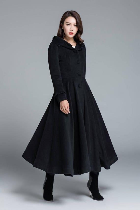 black coat wool coat long trench coat swing coat plus size