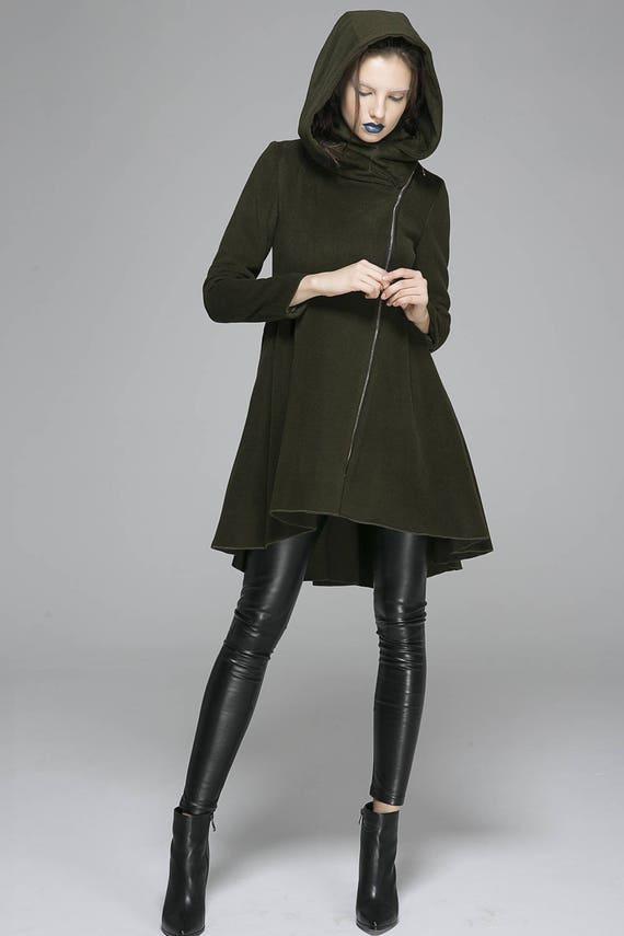 army green jacket wool coat hooded jacket winter coat warm