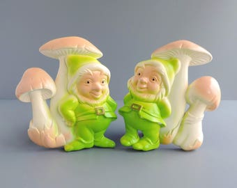 Vintage Miller Studio Gnome and Mushroom Chalkware Wall Plaques, Set of Two 2, Made in USA 1979, Home Decor