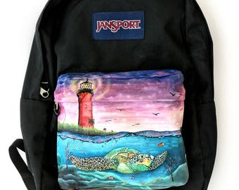 Custom JanSport Backpack - Hand Painted Sea Turtle, Marine Life, and Jupiter Lighthouse Painting