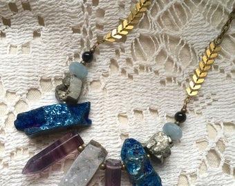 Druzy Gemstone Mix Necklace - Fluorite, Blue Geode, Pyrite - Antique Brass Chain - 18-inch Necklace