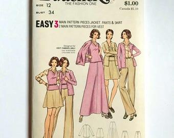 Vintage Sewing Pattern Women's 70's Mostly Uncut, Butterick 6992, Jacket, Vest, Skirt, Pants (S)