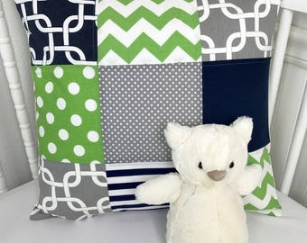 Throw Pillow Cover, Nursery Pillow Cover, Patchwork Pillow, 18 x 18 Inches, Navy, Blue, Green, Gray, Grey, Geometric, Gotcha, Dots, Stripes