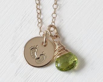 Baby Footprints Necklace with Birthstone / New Baby Gifts for Mom / Push Presents for Wife / Choose Your Birthstone / Gold Fill