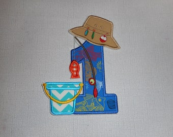Free Shipping Ready to ship Number 1 Fishing Machine Embroidery iron on applique