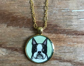Boston Terrier Necklace - Original Watercolor Painting, Hand Painted Pendant