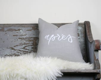 "18""x18"" Light Gray Linen with White Ink ""Aprés"" Pillow Cover"