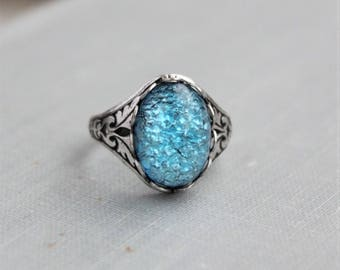 Blue Aqua Fire Opal Ring. Antique Silver or Antique Brass. Adjustable Ring