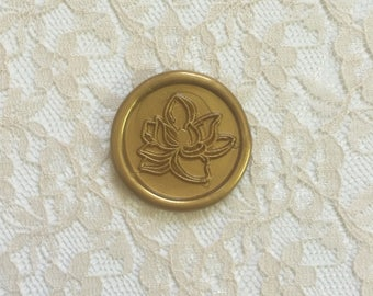 Magnolia Flower Peel  and Stick Flexible Wax Seals, 1.2 Inches in Size with One Inch Adhesive