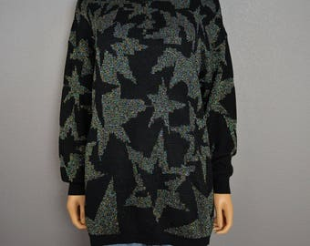 80s Star Print Sweater Black With Multicolor Metallic Threads Size Medium Long Pullover Sweater 80s Clothing Epsteam