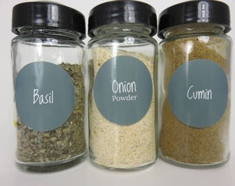 Grey Spice Jar Labels 80 in Set