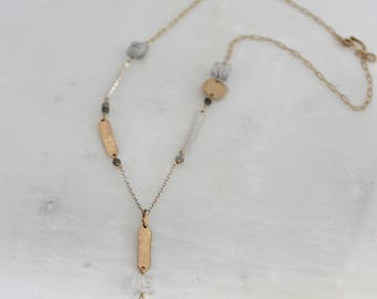 Evangeline Necklace, mixed metals, labradorite, rutilated quartz, gold fill,sterling silver