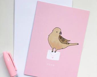 Sparrow - XOXO - Love Letter Kisses Card