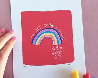 Rainbow 'Magical' - Hand Lettered Art Print