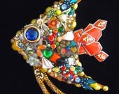 Tropical Fish Vintage Jewelry Art  Jewelry Wall Art  Jeweled Fish  Vintage Jewelry Art  Fish Art  Beach House Decor  Orange Blossom