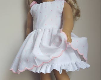18 inch Doll Dress, Fits American Girl, White Dress with Embroidered Polka Dots