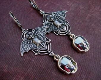 Halloween Earrings - Swarovski Skull Dangle Earrings with Vampire Bats