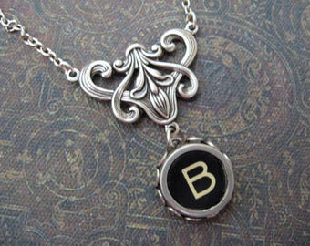 Typewriter Key Necklace - Stunning - Letter B