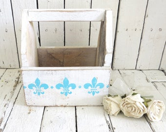 Fleur De Lis Caddy, Wooden Caddy, Garden Planter, Organization, Cottage Decor, Farmhouse Decor, Plant Holder, French Country Kitchen