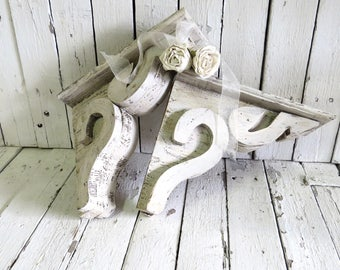 Rustic Wooden Corbels, Shelf Brackets, Old Corbels, White Corbels, Architectural Element, Weathered Decor, Reclaimed Wood, Vintage Salvage