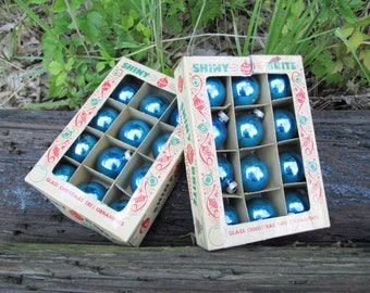 Shiny Brite Vintage Christmas Ornaments Blue in Box Set of Two