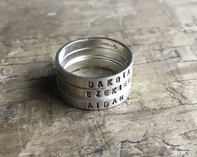 Personalized Mom Ring Womens Sterling Silver Childrens Names Ring Stacking Skinny Rings Kids Names
