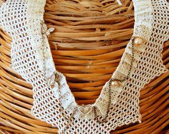 Antique crochet collar embellished dress collar, Neck piece, handmade necklace, neckline adornment