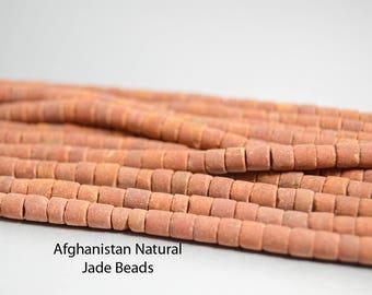 Natural Jade Terra Cotta Beads Matte Finish Hand Cut Rust Beads Tribal Afghanistan New Jade Beads Barrel Beads