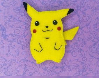 Handsewn and hand painted pickachu brooch, pokemon pin, pokemon accessory
