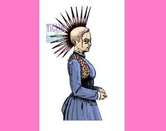 PunkRock Girl Card - Liberty Spike Hair - Retro Card - Victorian Card, Punk Girl , Snail Mail, Greeting Card, Blank Card, Music Fan, Hair