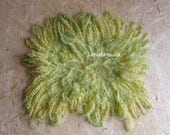 Curly felted blanket layer newborn props green lime newborn large flat fur basket filler, newborn prop blanket, photography baby photo prop