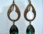 Emerald Rhinestone  Moroccan Style Earrings, Oxidized Brass, Vintage Crystal Jewels, Green, Victorian Style
