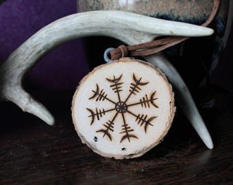 Norse Viking Icelandic Aegishjalmur Woodburned Wood Ornament - Helm of Awe