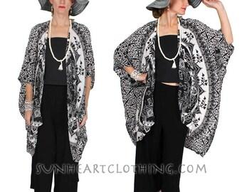 SunHeart Batik Mandala Batwing Coat Jacket Boho Hippie Chic Goddess Garments Resort Sml-8X