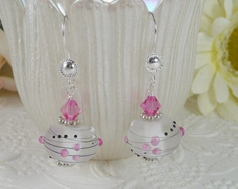 Lamp Work Earrings Pink Swirls and Dots Gifts for Her