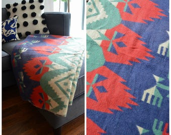 Vintage 1940's/ 1950's Colourful Cotton Camp Blanket/ Mid Century Aztec Design Throw Blanket