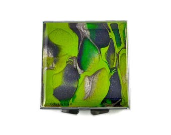 Camo Square Pill Box Hand Painted Enamel Greens and Greys  with Custom Colors and Personalized Options