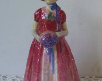 "Royal Doulton English Porcelain Figurine Diana, HN 1986, 5 5/8"" tall - Issued 1946-1975 , Pink Victorian Dress with Ruffled Front"