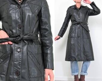 Vintage 70s Leather Trench Coat Long Black Leather Jacket Paneled Triangles Belted Leather Coat Boho Goth Spy Jacket Petites Coat (XS)