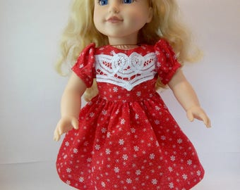18 inch Doll Christmas  Dress Red Snowflake Battenburg Lace Front Toys