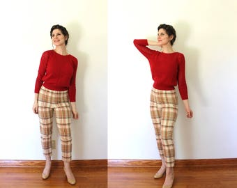 1960s Capri Pants / 60s 50s Cigarette Pants / 1960s 1950s High Waist Wool Plaid Cigarette Pants