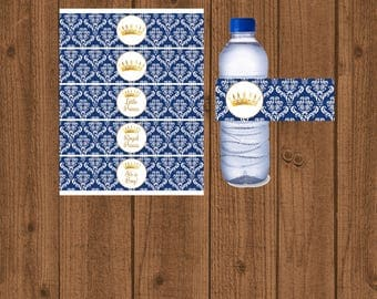 Prince Water Bottle,Prince Baby Shower,Prince Water Label,Blue Gold Shower,Royal Baby Shower,Boy Baby Shower,Water Bottle,Instant Download