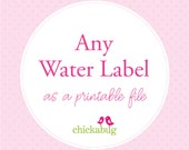 Any water bottle label design as a DIY printable PDF file