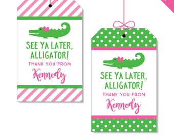 Pink Alligator Party Favor Tags - Personalized DIY printable favor tags