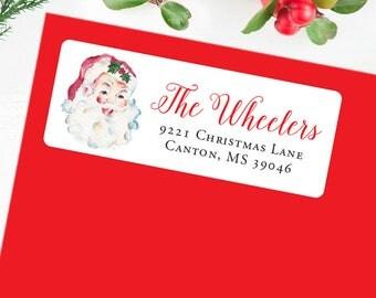 Christmas Address Labels - Watercolor Vintage Santa - Sheet of 30