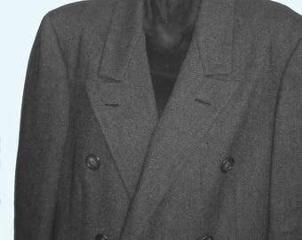 Mens BURBERRY wool double Breasted Charcoal Herringbone Overcoat sz 44 XL -2X