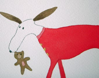 Dog in red pajamas original watercolor, whimsical, children's art, nursery art, bedtime, bedroom art, dog with bear, matted art, sleep